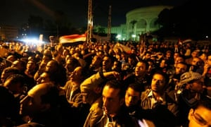 Protesters gather in front of the presidential palace in Cairo