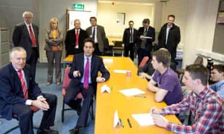 ed miliband with unemployed youth
