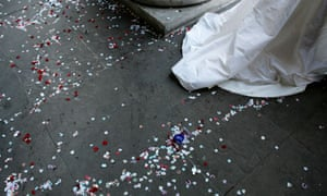 Confetti on the ground after a wedding