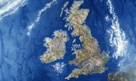 Satellite view of the UK
