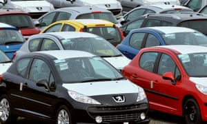 Unsold Peugeot cars in Calais. Plunging French car sales have contributed to poor industrial production figures today