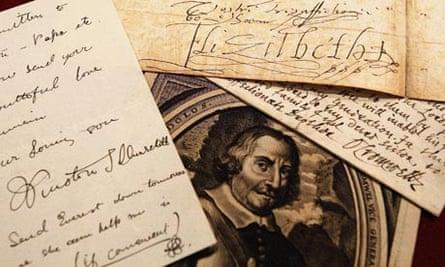 Signatures of Winston Churchill, Elizabeth I and Oliver Cromwel
