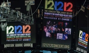 Signs are lit on the scoreboard for the 12-12-12 Sandy fundraising concert at Madison Square Garden