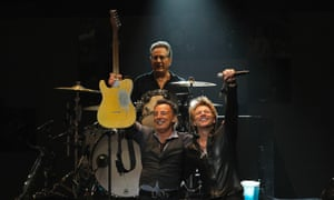 Bruce Springsteen, Jon Bon Jovi  and drummer Max Weingberg perform at the 12.12.12 Sandy benefit at Madison Square Garden in New York.