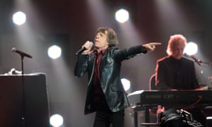 Mick Jagger of the Rolling Stones performs during the 12.12.12 Sandy relief concert in New York.