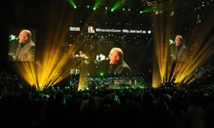 Billy Joel on stage at Madison Square Garden in New York for the Sandy relief concert 12.12.12.