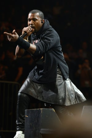 Kanye West performs on stage at Madison Square Garden in New York for the Sandy relief concert.
