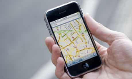 An earlier version of Google Maps on the iPhone