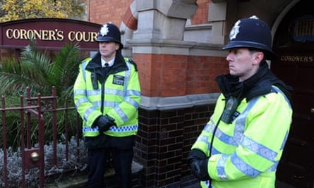 Police outside the coroner's court where the inquest into the death of Jacintha Saldanha was held