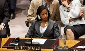 FILE - DECEMBER 13: Susan Rice has withdrawn her name from the running for Secretary of State. NEW YORK, NY - AUGUST 30:  Susan E. Rice, ambassador and U.S. Permanent Representative to the United Nations (UN), attends a UN Security Council meeting regarding the on-going situation in Syria on August 30, 2012 in New York City. UN Security Council negotiations regarding the situation in Syria collapsed last month.  (Photo by Andrew Burton/Getty Images) Continuity Horizontal Syria USA New York City Meeting Politics Ambassador UN Security Council United Nations Blocked Terms Diplomacy Attending Permanent Representative Susan Rice Situation