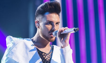 Rylan Clark performs on The X Factor.