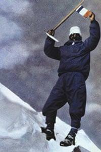 Maurice Herzog at the summit of Annapurna