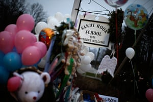 Sandy Hook: A makeshift memorial by the entrance to the Sandy Hook Elementary School