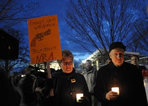 Sandy Hook: Gun control supporters take part in a candlelight vigil at Lafayette Square