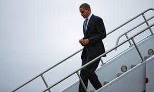 President Obama arrives at Bradley Air National Guard Base
