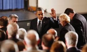 President Obama arrives at a vigil held at Newtown High School