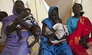 Sudanese refugees wait for malaria test