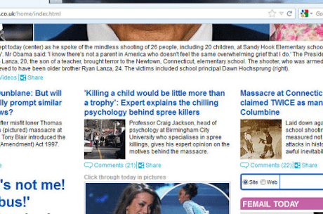 Screenshot of Mailonline front page on Friday, December 14th