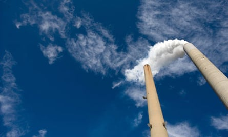 Smoke stacks at American Electric Power's Mountaineer coal power plant in New Haven, West Virginia