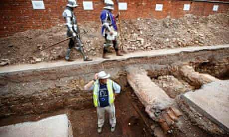 Archaeologist Mathew Morris in the trench where he dug for the remains of King Richard III