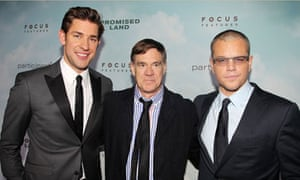 John Krasinski, left, director Gus Van Sant, center, and Matt Damon at the premiere of Promised Land
