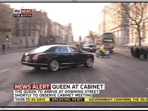 Queen arriving at Number 10.