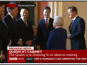 Queen meeting the cabinet.