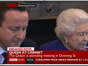 The Queen at cabinet.