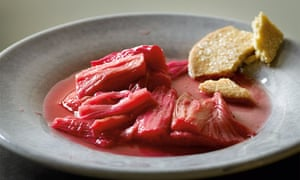 Hugh Fearnley-Whittingstall's rhubarb and rosewater compote with shortbread