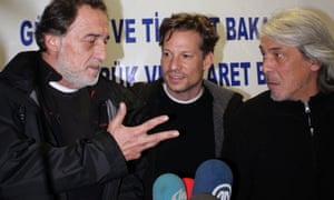 NBC chief foreign correspondent Richard Engel, center, NBC Turkey reporter Aziz Akyavas, left, and NBC photographer John Kooistra, speak during a news conference in Reyhanli, Turkey. Tuesday after their release. More than a dozen pro-regime gunmen kidnapped and held the team and three of their colleagues.