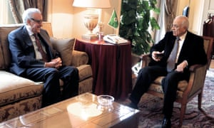 UN-Arab League special envoy to Syria Lakhdar Brahimi during a meeting at Arab League headquarters in Cairo on Tuesday with Arab League secretary General Nabil al-Arabi.