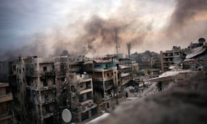 Shelled buildings in Aleppo