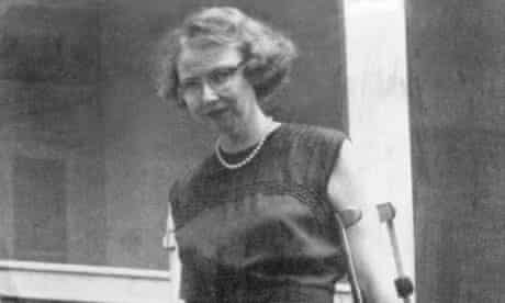 Flannery O'Connor pictured in the 1950s when she was disabled by lupus