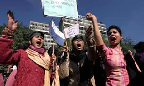 Indian women demonstrate outside the New Delhi police headquarters after a brutal gang rape on a bus