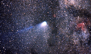 Comet Halley against the Milky Way