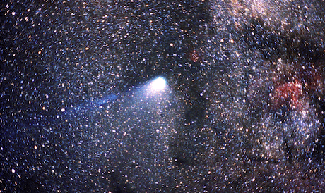 Comet Halley against the Milky Way