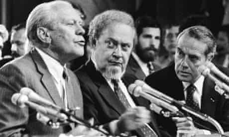 Robert Bork, centre, with Gerald Ford, left, and Bob Dole