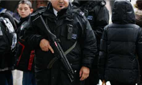Armed police in Whitehall