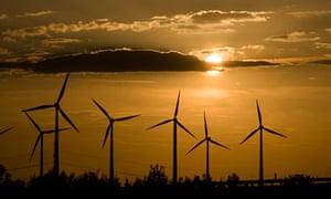 A wind farm near Dessau, Germany