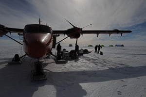 British Antarctic Survey: A plane with skis fitted specially for the weather