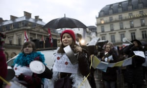 Performing arts professionals protest outside the culture ministry in Paris against austerity measures in the cultural field