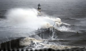 Waves crash into the sea wall at Seaham Harbour as parts of the UK are braced for further flooding as successive bands of heavy rain move across the country.