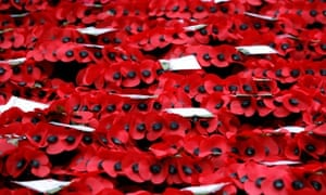 Memorial poppy wreaths at the Cenotaph on Remembrance Sunday