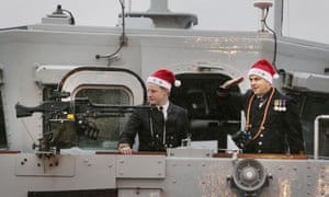 The crew of HMS Blyth get into the festive spirit wearing Santa hats during their homecoming at HM Naval Base on the Clyde.