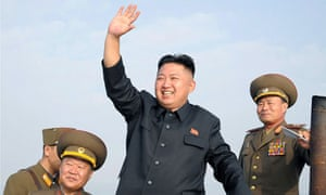North Korean leader Kim Jong-un waving upon his arrival at defence detachments near the Yellow Sea