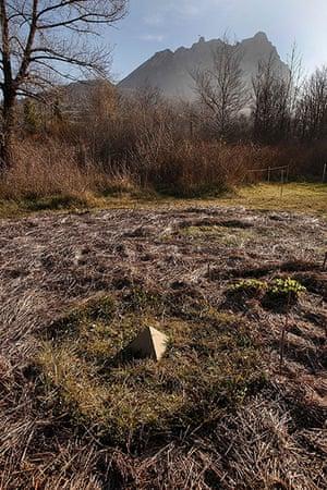Bugarach prophecy: A pyramid shaped object lies in a field in Bugarach