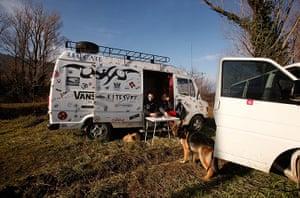 Bugarach prophecy: Tourists sit in their van in Bugarach
