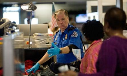 TSA screening passengers in Dallas, Texas