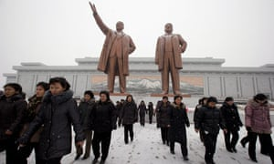 North Koreans lay tributes to former leaders