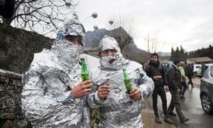 Mayan apocalypse: Men in tin foil at Bugarach, France